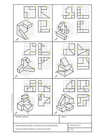 Gloria Morán Mayo Espacio didáctico: SÓLIDOS. EJERCICIOS DE VISTAS Orthographic Projection, Orthographic Drawing, Isometric Drawing Exercises, Movement Architecture, Villa Savoye, Architecture Drawing Sketchbooks, Certificate Design Template, Interesting Drawings, Geometric Drawing