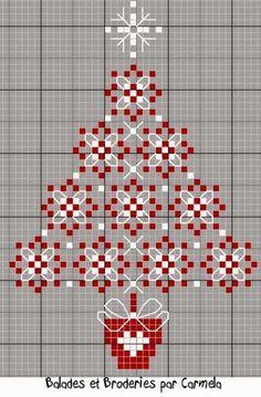 DIY: Christmas Tree Cross Stitch or chicken scratch. Xmas Cross Stitch, Cross Stitch Charts, Cross Stitch Designs, Cross Stitching, Cross Stitch Embroidery, Embroidery Patterns, Cross Stitch Patterns, Blackwork Patterns, Cross Stitch Kitchen