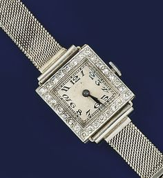A lady's platinum, white gold and diamond wristwatch The square dial with Arabic numerals in white gold and platinum case with single-cut diamond bezel, to a white gold mesh bracelet, the case back with inscription dated 1931