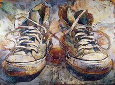 Sneakers - Gordon Smedt - oil on canvas Painting Still Life, Still Life Art, Ap Studio Art, Cult, Shoe Art, Art Shoes, A Level Art, Ap Art, Art Graphique