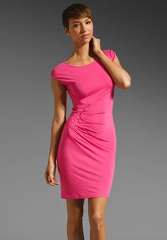 59b02d65a3727 Shop for Catherine Malandrino Side Gather Cap Sleeve Dress in Shocking Pink  at REVOLVE.