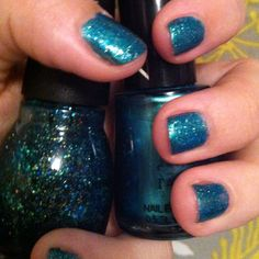 These two colors I'm wearing right now on my fingernails and toenails. Springs only here for a few more months then its summer, so I thought this was and adorable idea. I painted my nails with Revlons scented enamel in Ocean Breeze ($4.79) then a gorgeous top coat glitter from Sinful Colors in Nail Junkie($2.00). Once your done it'll look like something that belongs on a mermaid.
