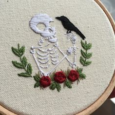 """""""I said I wasn't going to do any more embroideries until the new year but that didn't last. New little skeleton embroidery. I've purposefully left the pen…"""""""
