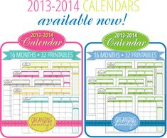 2013-2014 Printable Calendars