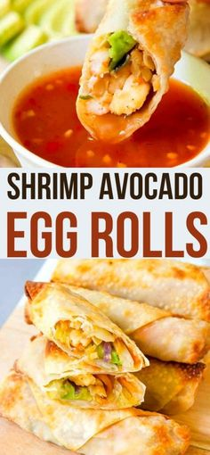 Air fryer or oven, these Shrimp Avocado Egg Rolls are downright addictive! Tons of flavor, crispy outside Healthy Eating Recipes, Healthy Dishes, Healthy Cooking, Healthy Fats, Healthy Egg Rolls, Avocado Egg Rolls, Appetizer Recipes, Snack Recipes, Cooking Recipes