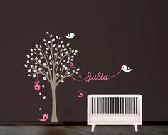 Tree with birds and name Wall Decal. Wall Sticker. Vinil wall decal. Nursery decal. Habitación niños - Kid's room