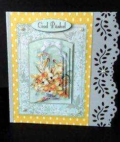 It s Easter  on Craftsuprint designed by Bodil Lundahl - made by Ulla Skraedderdal - First, I printed the sheet on a good quality of paper, and cut the items out. Layered on a card with a border - with 3D pads. Finish the card with gems. Lovely sheet for easter.  - Now available for download!