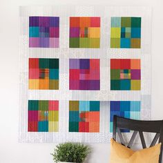 Despite its ultra simplicity, designer Christine Barnes' Module Quilt packs quite a punch with vibrant hues set against a neutral background fabric. Modern Quilt Patterns, Quilt Patterns Free, Modern Quilting, Quilt Modern, Contemporary Quilts, Quilting For Beginners, Easy Quilts, Quilting Projects, Art Forms