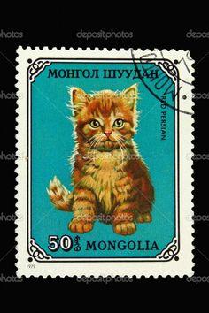 Mongolia CAT POSTAGE STAMP.