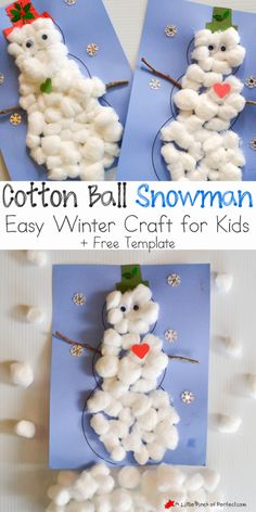 After enjoying a Winter Sensory Bin it was time to figure out a way to use all our cotton balls, so while we watched the snow fall outside we made a snowman inside from the warmth and comfort of our home. The snowmen are easy to make (I even have a free snowman template to use …
