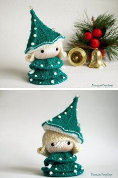 Crochet Dolls Patterns Crochet Doll Christmas Tree Pattern - Looking for cute Christmas tree crochet patterns for the Holidays? We've got all you need from cats to hats and blankets to pillows! Christmas Tree Dress, Christmas Tree Pattern, Crochet Christmas Ornaments, Christmas Knitting Patterns, Holiday Crochet, Christmas Fairy, Knitted Christmas Decorations, Crochet Doll Pattern, Crochet Dolls