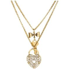 Betsey Johnson Iconic Heart/Key 2 Row Necklace (Gold Antique Gold)... ($38) ❤ liked on Polyvore featuring jewelry, necklaces, heart charm necklace, gold chain necklace, gold charm necklace, charm locket necklace and locket necklace