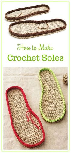 Love the idea of adding a little something extra to the bottom of the slipper. Might be a little extra work but it's well worth it by adding to the life of the slipper. Learn to Make Crochet Soles, How to make Crochet Soles, DIY Crochet Slippers crochet Diy Crochet Slippers, Crochet Sole, Crochet Slipper Pattern, Crochet Sandals, Crochet Boots, Cute Crochet, Crochet Crafts, Crochet Clothes, Crochet Patterns