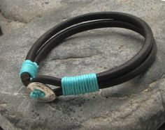 FREE SHIPPING. Unisex leather bracelet. Multi strap black leather bracelet with silver plated button clasp.