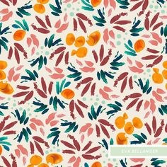 """Fruta"" - Eva Bellanger  #print #printandpattern #pattern #textile #orange #fruit #summer #abstract #flora #drawing #textiledesign #surfacedesign #surfacepattern #patterndesign #textiledesign #printdesign #surfacepatterndesign #artwork #illustration #painting #brushstrokes"
