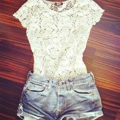 Lace white top & Jean shorts