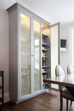 Willow Road - Dove Grey Satin Matt Lacquer - Square Framed Doors - Beading - Polished Nickel Handles - Smart - Elegant - Stainless Steel -  Urban Edge