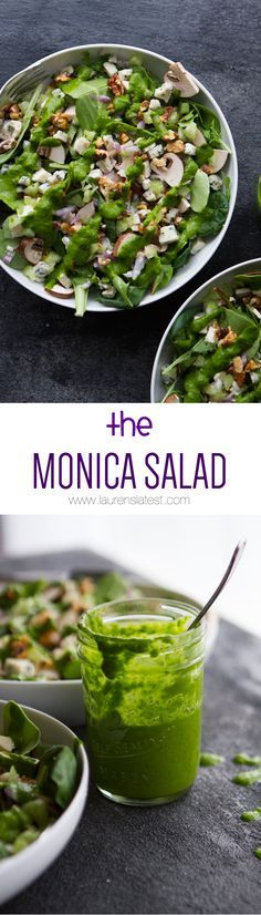 The Monica Salad... Lettuce, mushrooms, gorgonzola cheese, candied walnuts, red onion, avocado and celery... GET READY TO LIVE!