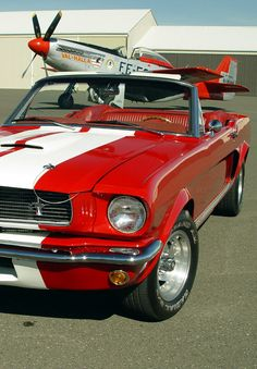 Fly down the road in this shiny red and white '65 Mustang.  #FastandFuriousFriday