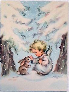 #905 40s Rust Craft Marjorie M Cooper Angel & Bunny- Vtg Christmas Greeting Card