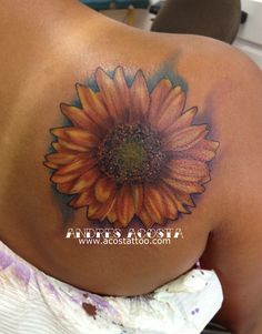 Andrés Acosta: Sunflower Tattoo /this is basically where I want mine. A smidge smaller?