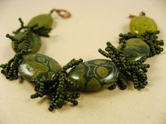 OCEAN JASPER and Seed Bead Bracelet - The beads range in shades from deep green to mustard yellow.