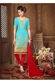 Ethnic Wear Sky Blue Glaze Cotton Salwar Suit - 18612