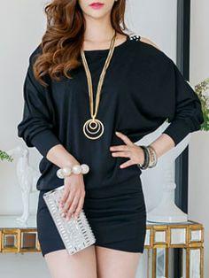 Women Black Long Sleeve Off Shoulder Wrap Low-cost Mini Dress