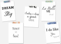 Free printables mottos--in an elegant frame on watercolor paper.