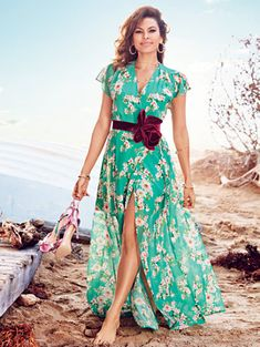 Hey there beach babe! The Allison Maxi Dress from the Eva Mendes collection is the perfect floral spring wrap dress. Get the look exclusively at New York and Company. Skirt Outfits, Dress Skirt, Wrap Dress, Dress Up, Cute Outfits, Hot Dress, Eva Mendes Collection, Green Dress, Spring Summer Fashion