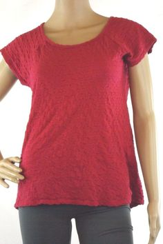 Women's Size M Kim Rogers Top Pink Textured Cap Sleeve Stretch 100% Cotton #KimRogers #Blouse #Casual