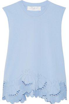 Victoria, Victoria Beckham | Delft embroidered stretch-cotton top | NET-A-PORTER.COM