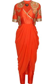 Coral angrakha style kurta and embroidered short jacket set available only at…