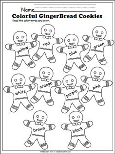 Color Words Gingerbread Cookies  Fun coloring activity to help students learn the color words. Keywords: Christmas, gingerbread, color, winter, Kindergarten