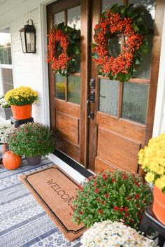 Fall Farmhouse Front Porch - Beneath My Heart