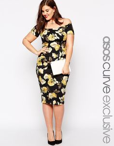 ASOS CURVE co-ord Pencil Skirt in Yellow Rose Print