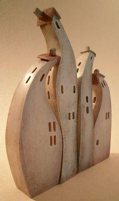 Asymmetrical balance ceramic minatures by Vesna Gusman, via Behance Clay Houses, Ceramic Houses, Miniature Houses, Ceramic Clay, Ceramic Painting, Ceramic Pottery, Painted Ceramics, Pottery Sculpture, Sculpture Art