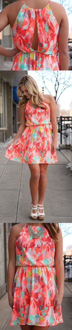 Spring Fashion Colors for 2015 - Neon Coral - Love this spring dress!