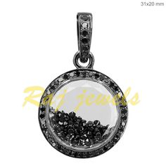 Gemstone Shaker Pendant Natural Pave Black Diamond Handmade 925 Sterling Silver #Handmade