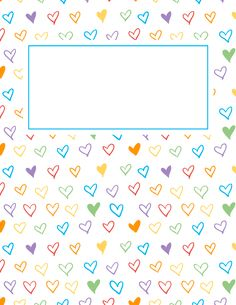 Free printable rainbow heart binder cover template. Download the cover in JPG or PDF format at http://bindercovers.net/download/rainbow-heart-binder-cover/