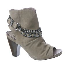 """Nicole """"Baffle"""" –Open-toe booties + biker-chic chains = stunning style and high fashion flavor!"""