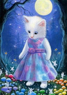White kitten cat rainbow fairy ring forest moon fantasy original aceo painting  #Miniature