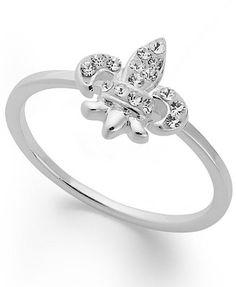 Unwritten Sterling Silver Ring, Crystal Fleur De Lis Ring