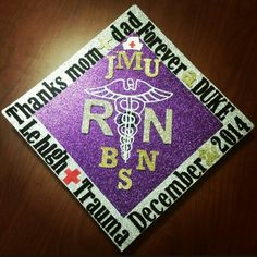 My nursing graduation cap I decorated! #jmu #nursing #dukes #graduation