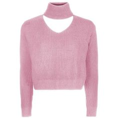 Cropped Choker Knitted Jumper by Glamorous Petites ($31) ❤ liked on Polyvore featuring tops, sweaters, topshop sweater, pink crop top, topshop jumpers, pink top and pink jumper