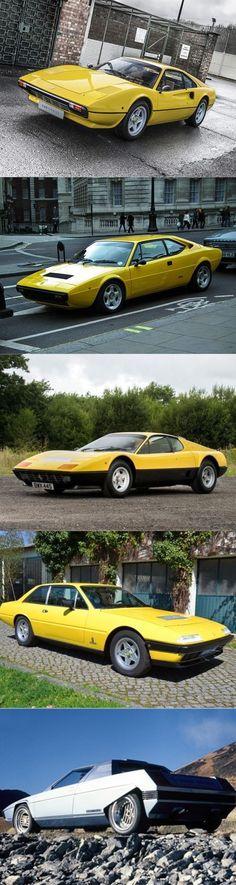 1976 Ferrari / 308 GTB / 308 GT4 / 365 GT4 BB / 365 GT4 2+2 / Rainbow / Bertone concept Gandini / Italy / yellow / Pininfarina / line-up #ferrariclassiccars #ferrarivintagecars