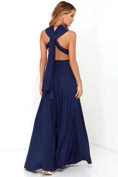 Versatility at its finest, the Tricks of the Trade Navy Blue Maxi Dress knows a trick or two! Long fabric wraps into several bodice styles. Blue Maxi, Navy Blue Dresses, Navy Maxi, Bodycon Dress Parties, Party Dress, Maxi Bridesmaid Dresses, Bridesmaids, Maxi Dresses, Evening Dresses