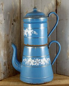 Vintage antique French coffee pot blue enamel by SmeerlingAntiques
