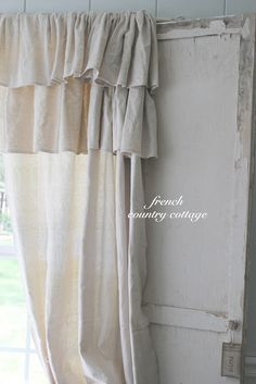 Who would have guessed - Double Ruffle Drop Cloth Panels. Actually made from drop cloths. Great rustic/shabby chic look. Ruffle Curtains, Drop Cloth Curtains, Panel Curtains, Curtain Panels, Short Curtains, Roman Curtains, Yellow Curtains, Cheap Curtains, Gold Curtains
