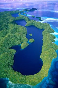 Palau - Long Lake, one of many marine lakes, on Mecherchar Island in the Rock Islands region
